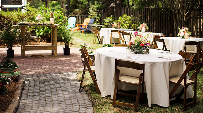 outdoor tables at baby shower
