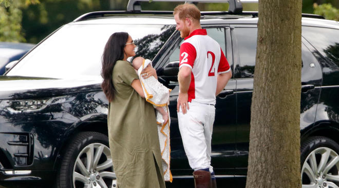 Meghan Markle and Prince Harry photographed at Archie's first public outing.