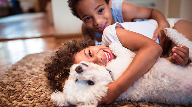 two little boys hugging and playing with small white dog
