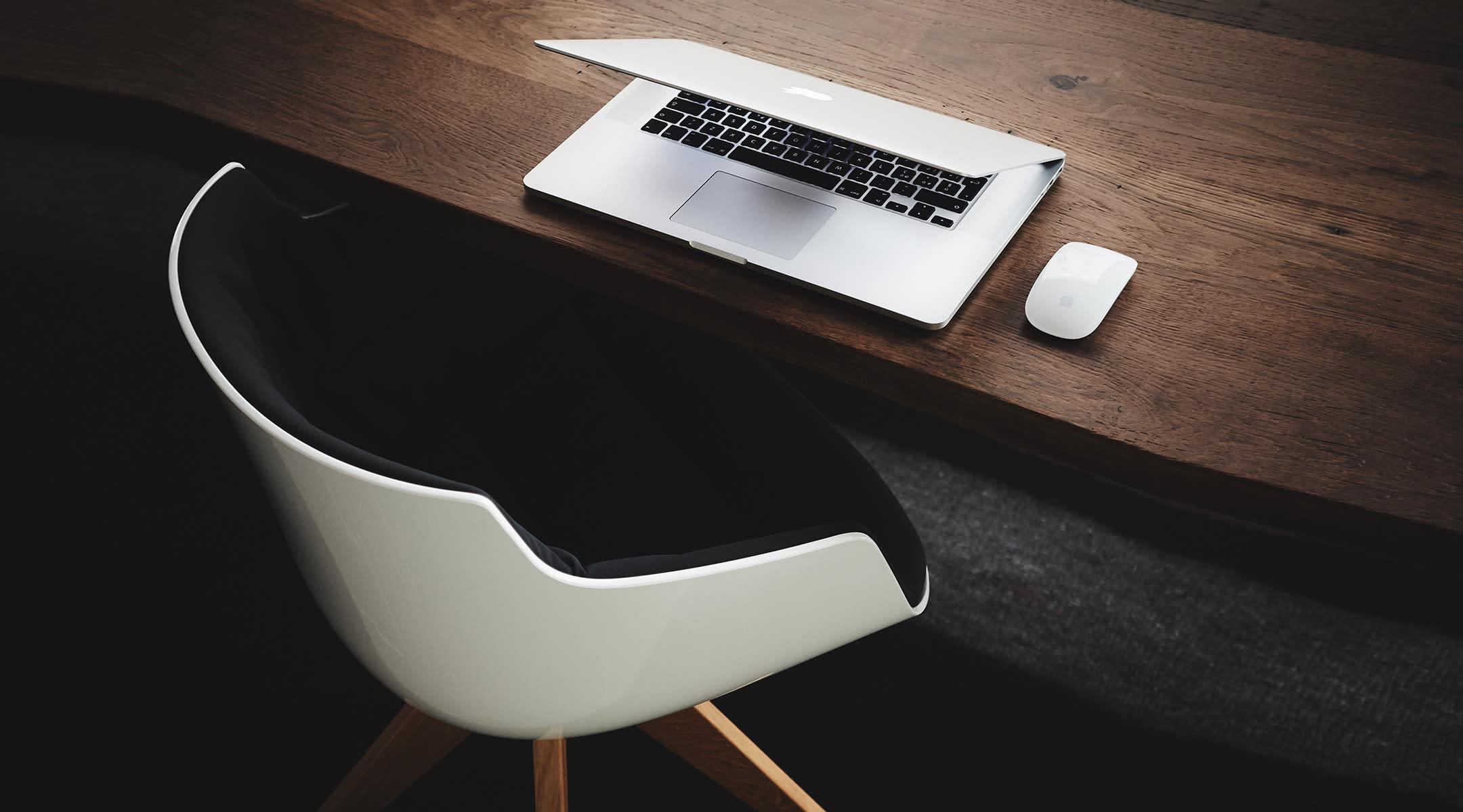 social media lap top on desk