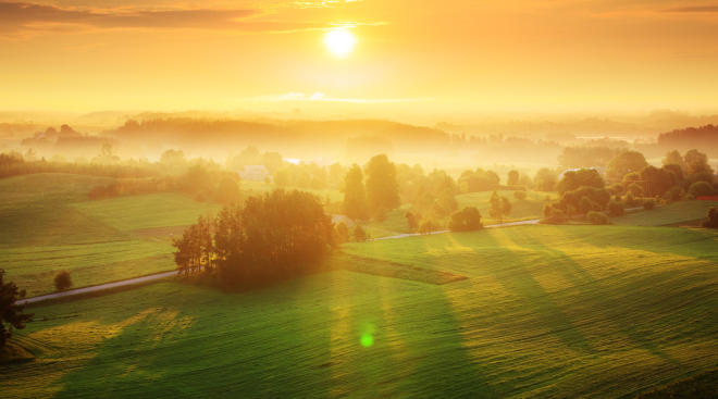 Beautiful green landscape with morning golden sunrise.