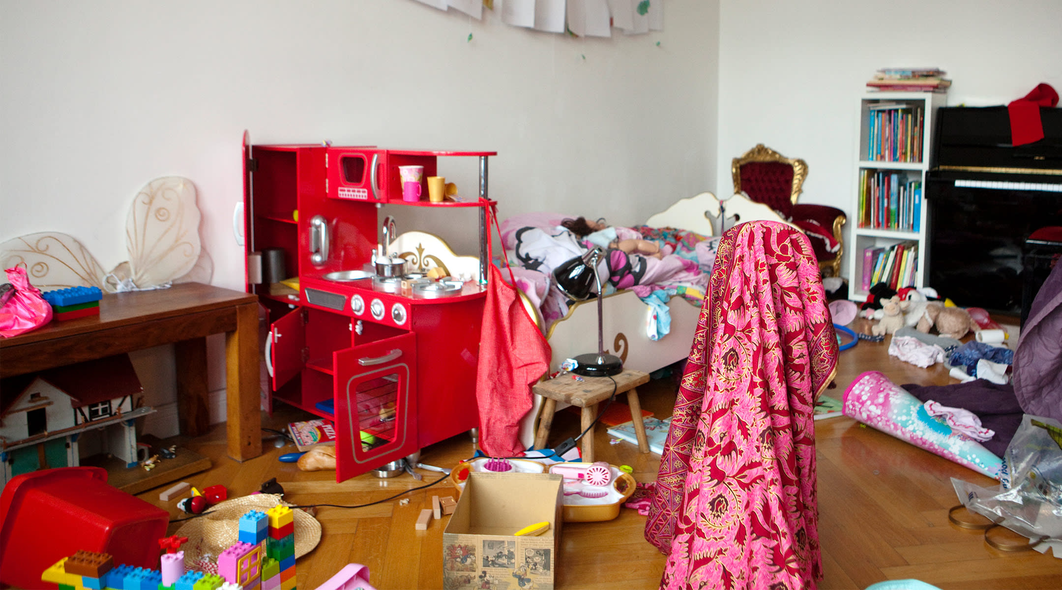 cluttered messy child's room