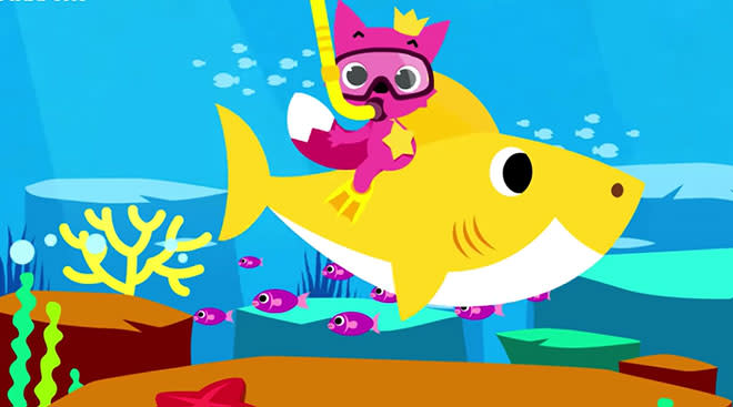 still of animated baby shark song youtube video