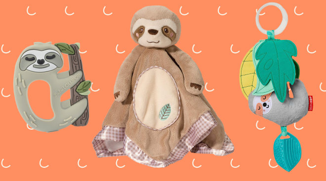 collage of sloth baby toys, teethers and a stuffed animal