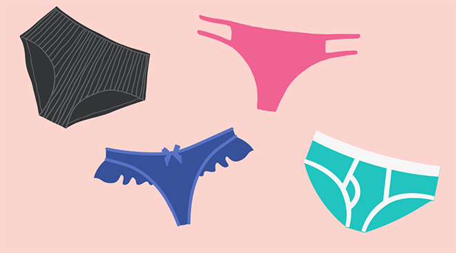 Illustration of four different kinds of underwear.
