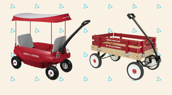 two red childrens' wagons