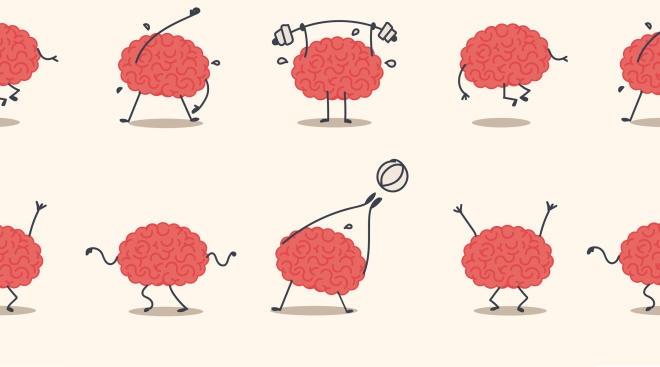 Illustration of animated brains, dancing, lifting weights and moving.