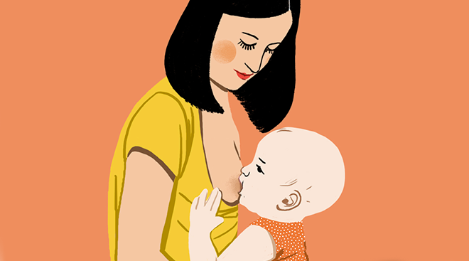 illustration of mom breastfeeding her baby in upright position