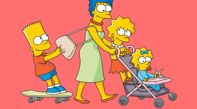 Marge Simpson with Bart, Lisa, and Maggie