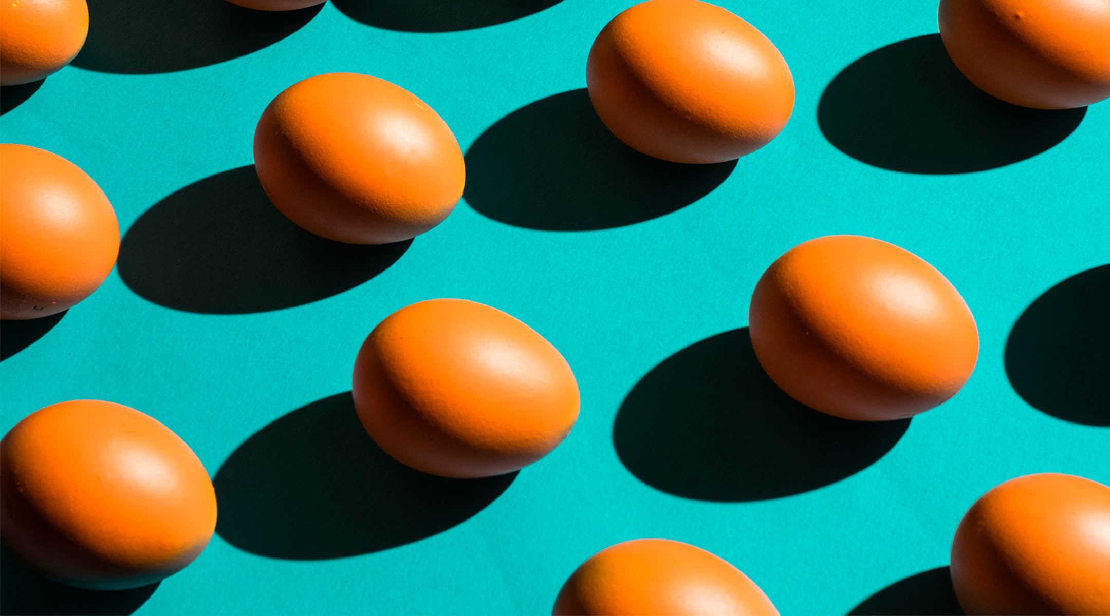 eggs arranged and photographed graphically as a pattern