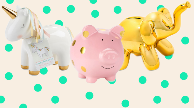collage of piggy bank products for baby