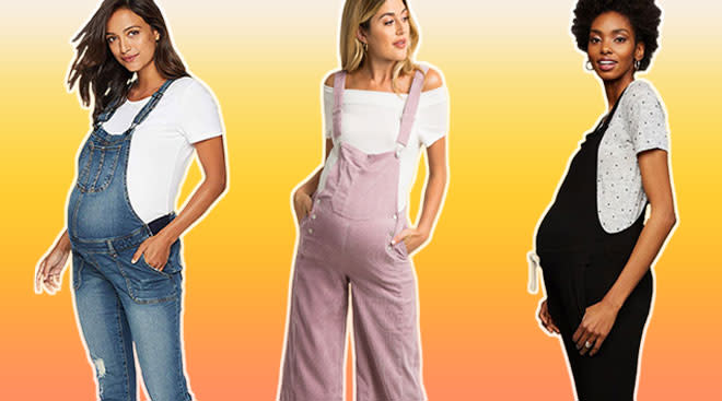 collage of maternity overalls