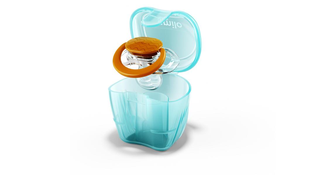 pacifier in a light blue case