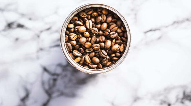 coffee beans in canister, study shows they caffeine can help preemies