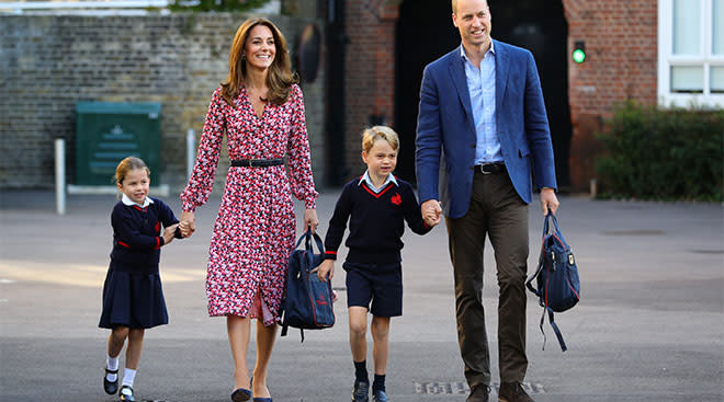 Kate Middleton and Prince William with their children, George and Charlotte on the first day of school.