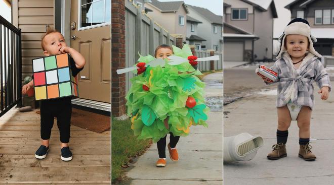 mom, danielle bevens dresses up her toddler in diy halloween costumes