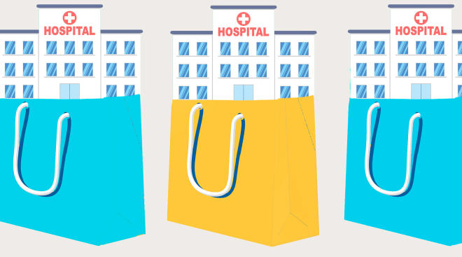 conceptual illustration of hospitals inside shopping bags