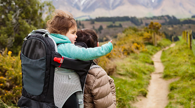 Dad hiking with toddler in a carrier