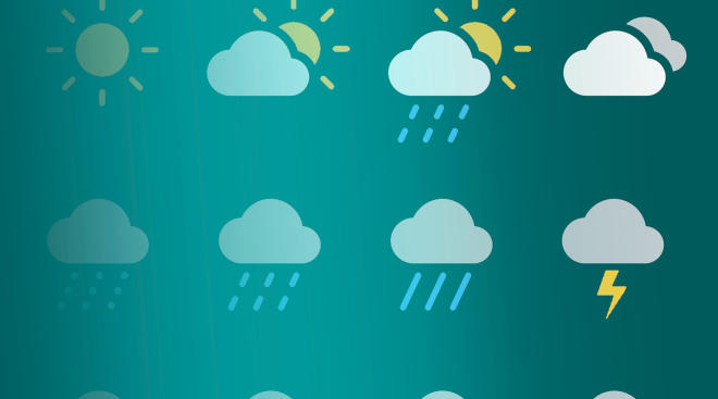 rain, clouds, sun weather icons
