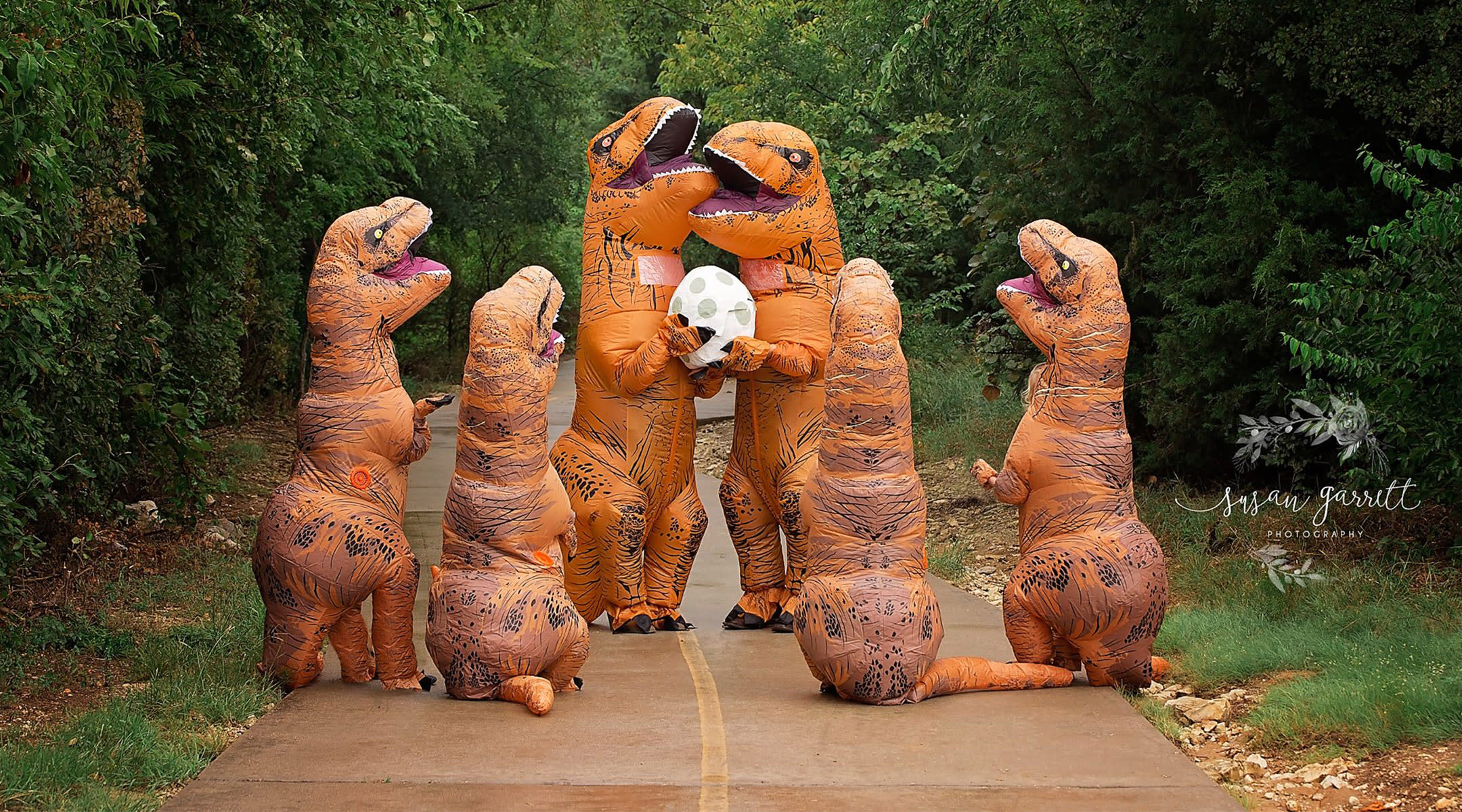 family dresses as dinosaurs to announce their baby