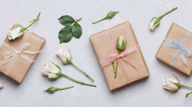gifts with ribbon and flowers