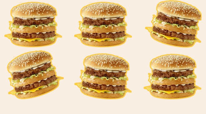 repeating pattern of mcdonalds big macs