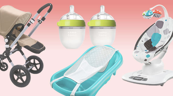 baby product collage including items parents register for, like a stroller and a bath tub