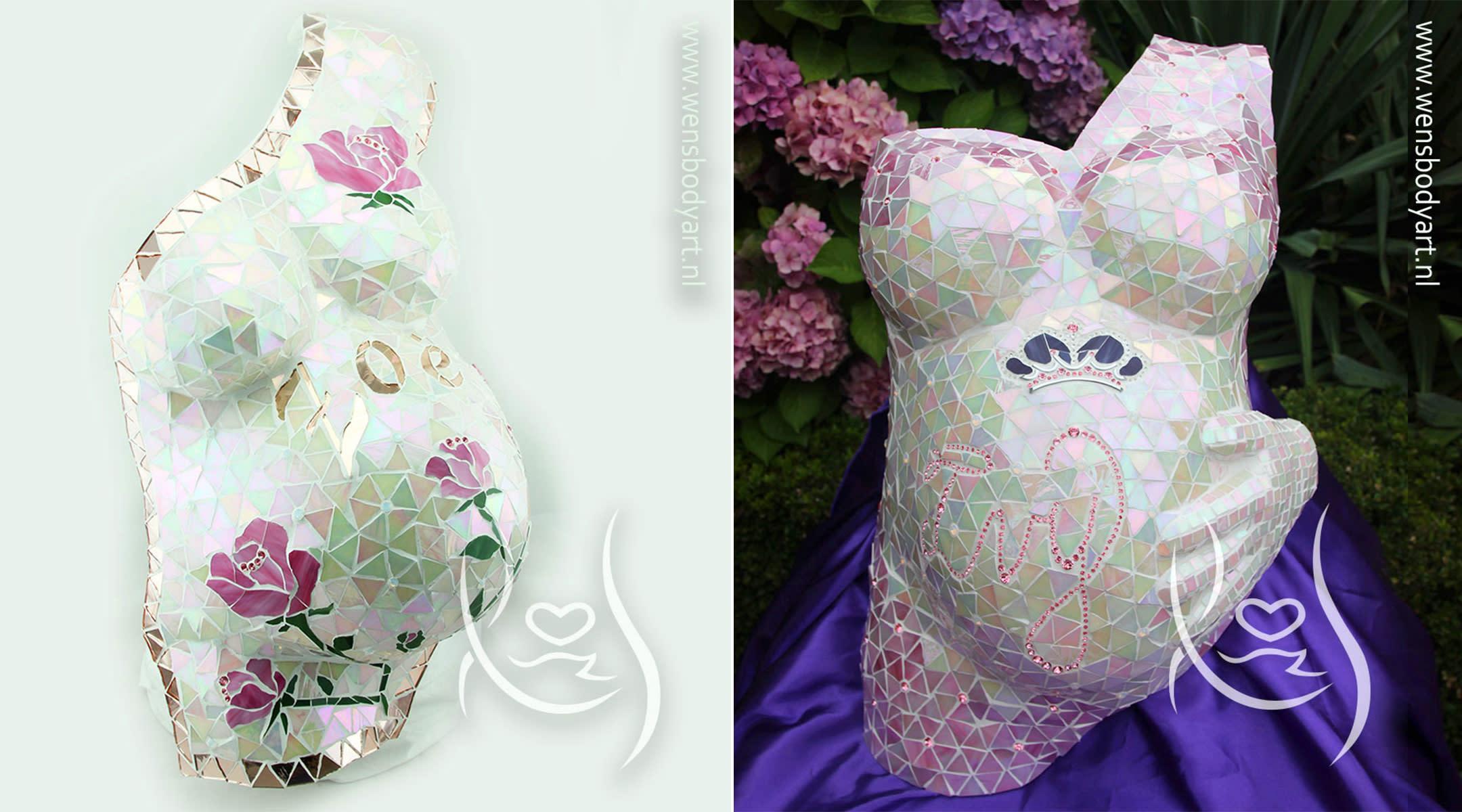 artist creates mosaic body casts for pregnant women