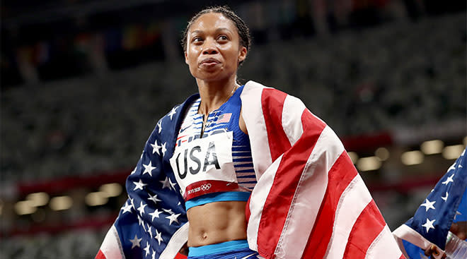 Track star Allyson Felix wins a medal at the Tokyo 2021 Olympics.
