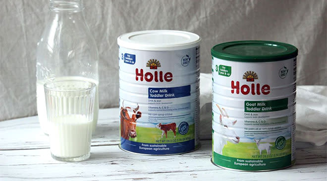 Holle baby food brand launches in the United States at Whole foods, image of Holle's cow milk product.