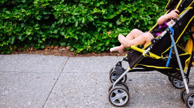 Baby in stroller outside by green bushes.