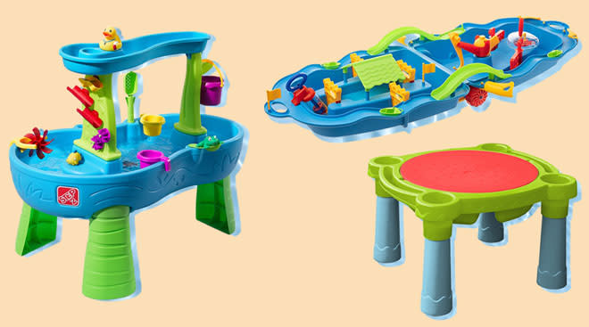 Water table play products for kids on color background.
