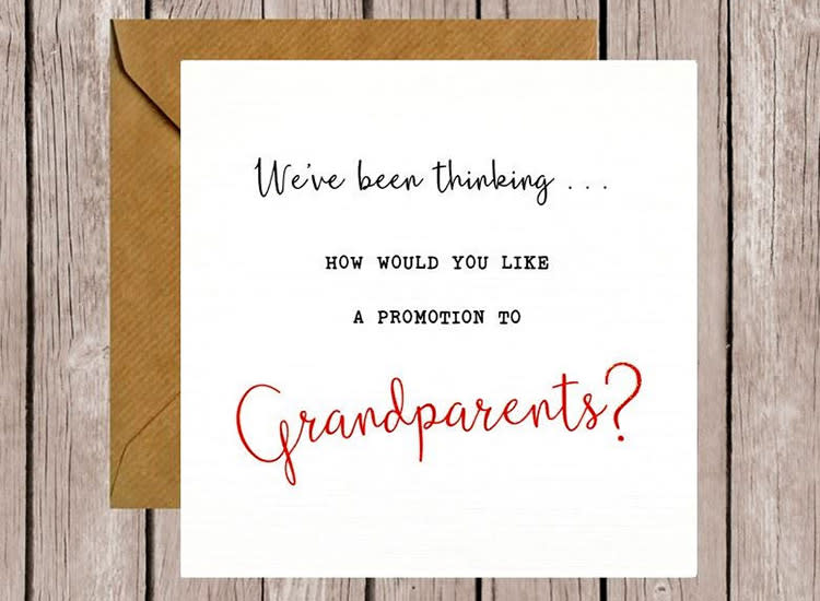 Pregnancy Announcement Grandparents Card