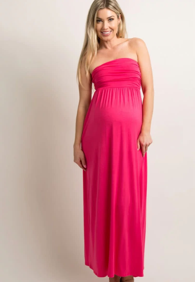 63877f2ffd3 Pinkblush coral strapless maxi dress maternity