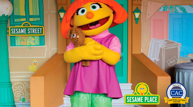 Sesame Place, character Julia, who has autism