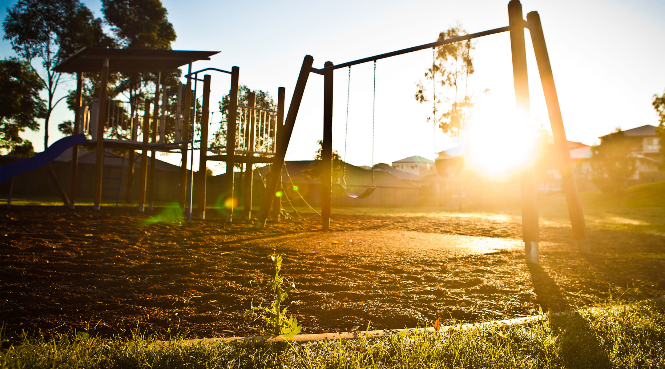 Playground at sunset