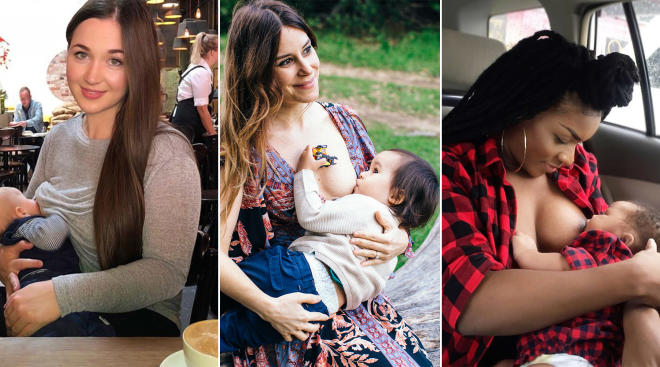 three different mothers breastfeeding in public