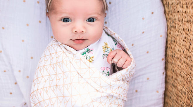 newborn baby in swaddle looking at camera