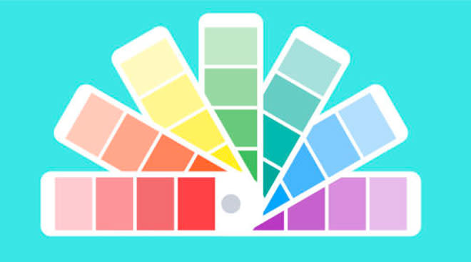 illustration of colorful paint sample booklet