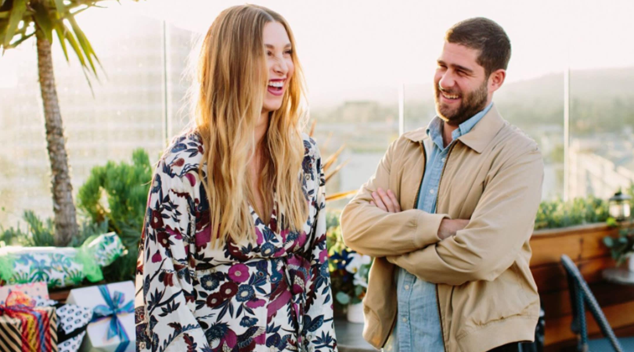 Whitney Port and husband Tim Rosenman at their baby shower on a hotel roof