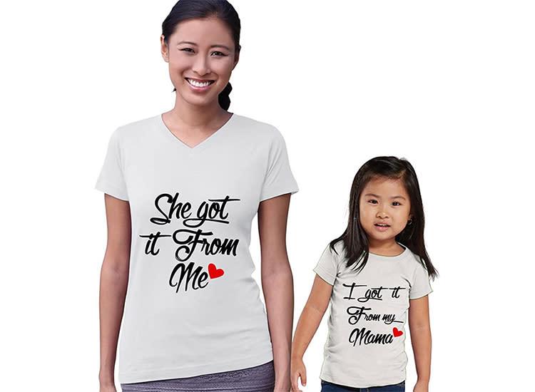 Little Kid onesie mum baby Mother baby Daughter matching T-shirt Babygrow set tee shirt mummy child set Cotton, Bodysuit Big Kid
