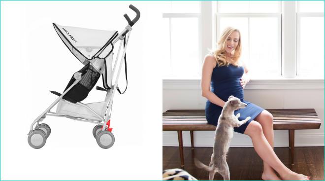 pregnant soon to be suburban mom baby registry, pictured with stroller