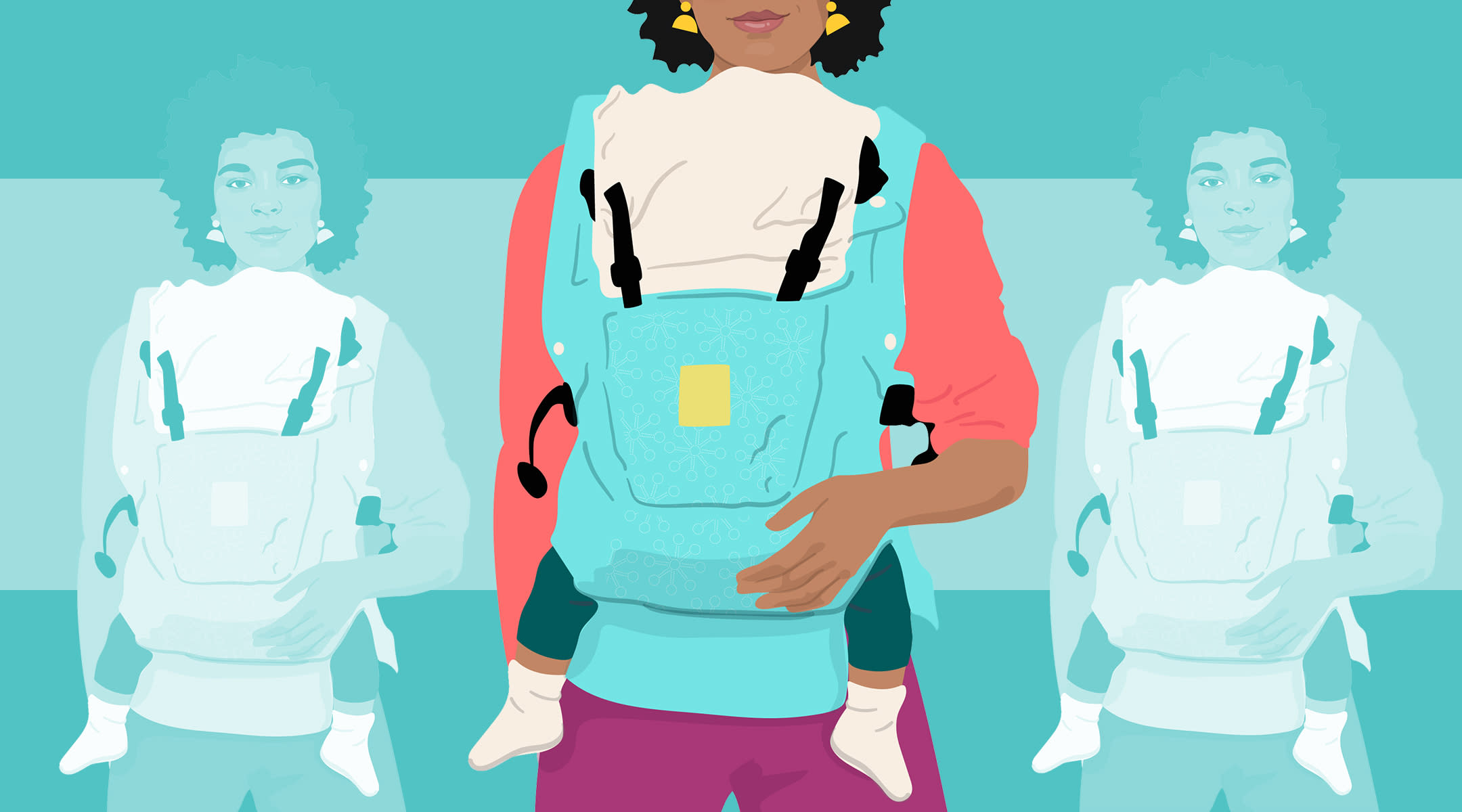 illustrated mom with baby in baby carrier