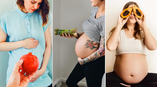 fruits and veggies representing different weeks of pregnancy