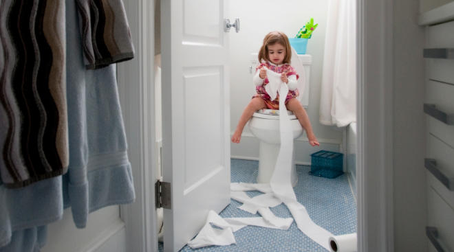 Little girl uses bathroom and learns how to potty train