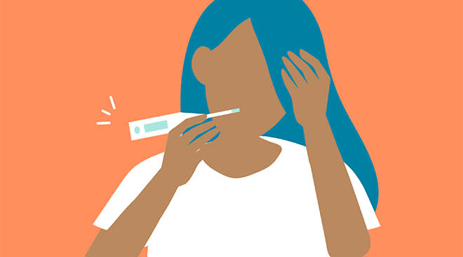 illustrated woman taking her temperature