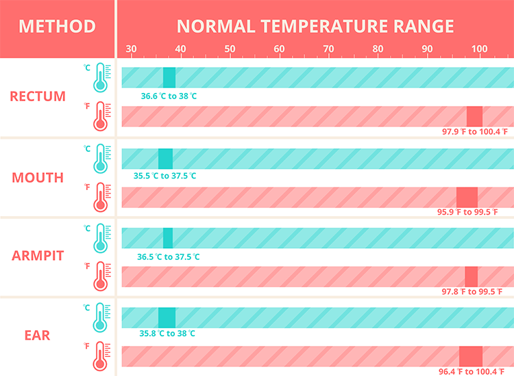 Normal body temperature for babies chart