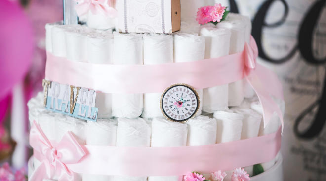 diaper cake at baby shower
