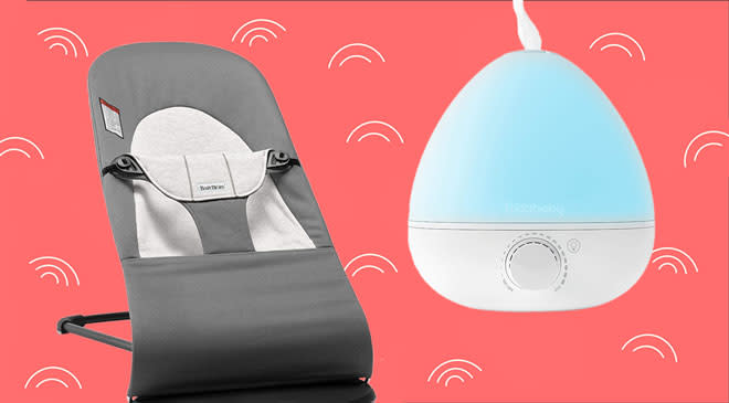 BabyBjörn bouncer and Friday baby humidifier