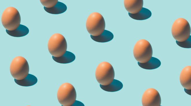 overhead shot of pattern of eggs